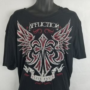 Affliction Stiched Sides Wings T Shirt 2XL Black